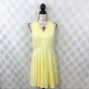 Francesca's Yellow Lace A-Line Casual Dress
